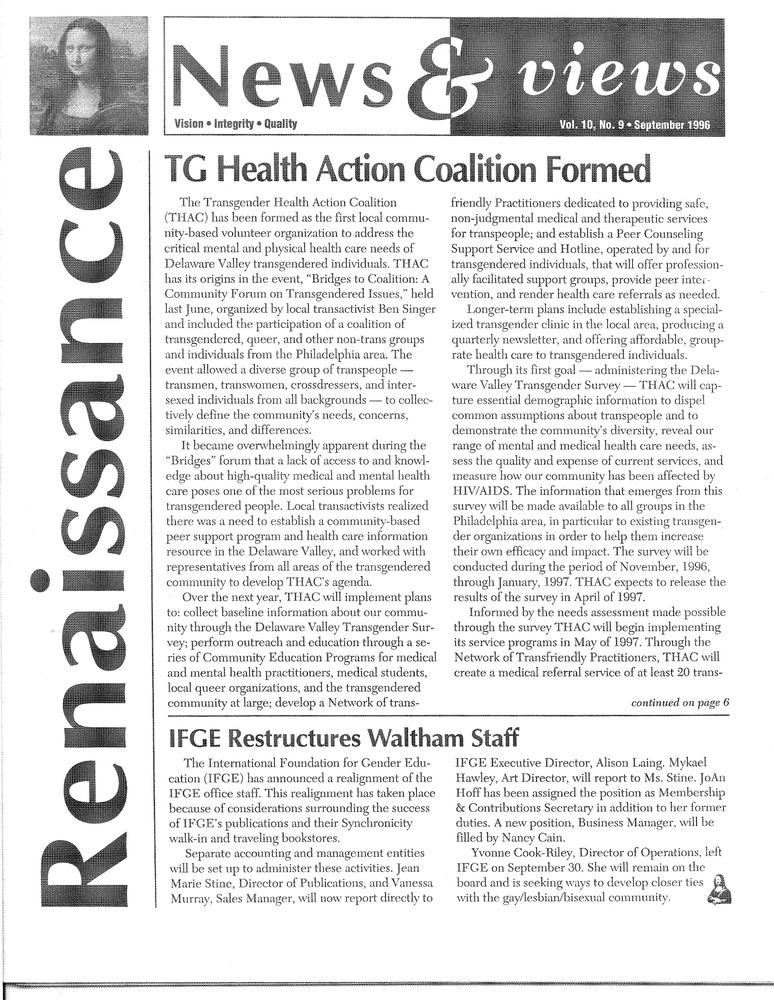 Download the full-sized PDF of Renaissance News & Views Vol. 10, No. 9 (September, 1996)