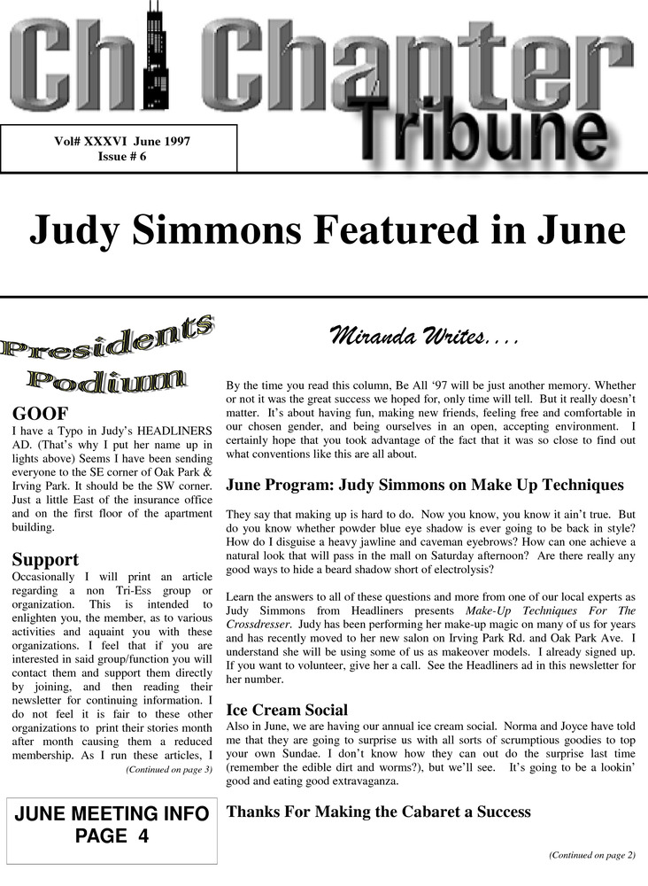 Download the full-sized PDF of Chi Chapter Tribune Vol. 36 Iss. 06 (June, 1997)