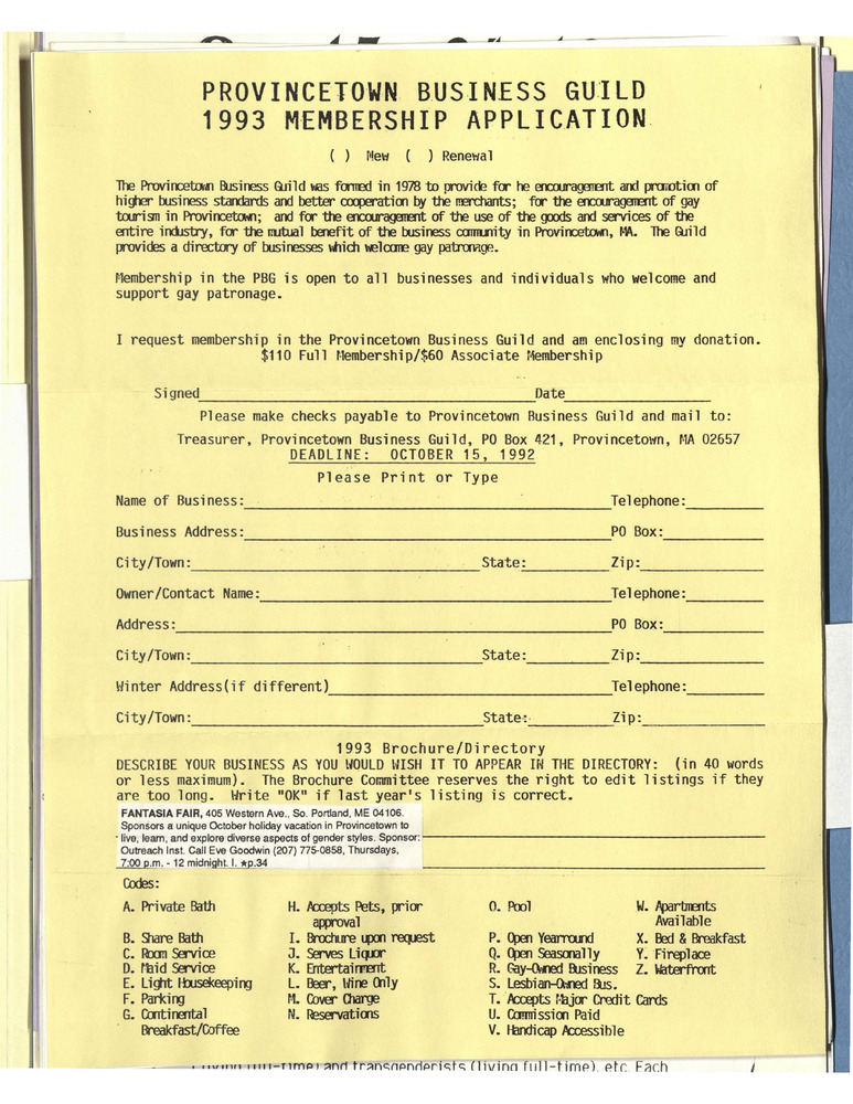 Download the full-sized PDF of Provincetown Business Guild 1993 Membership Application