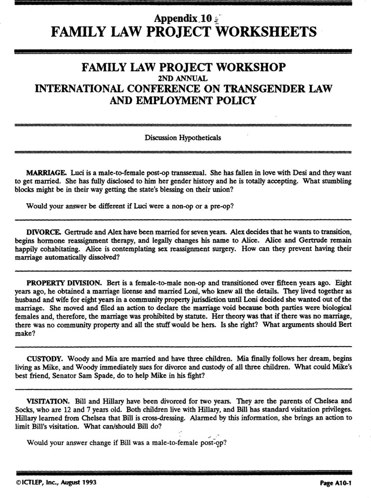 Download the full-sized PDF of Appendix 10: Family Law Project Worksheets