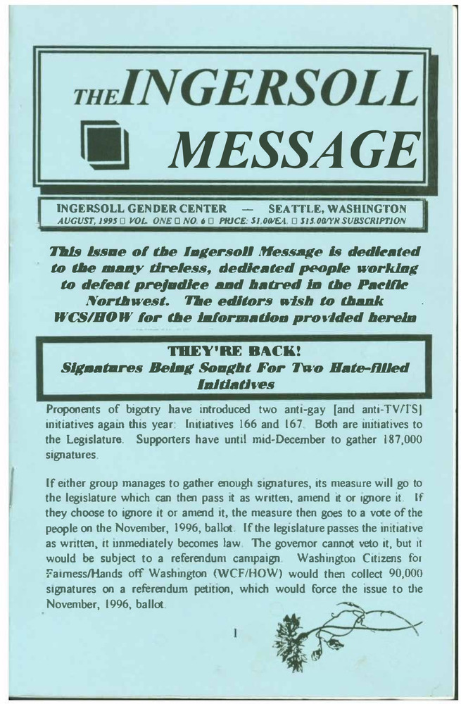 Download the full-sized PDF of The Ingersoll Message, Vol. 1 No. 6 (August, 1995)