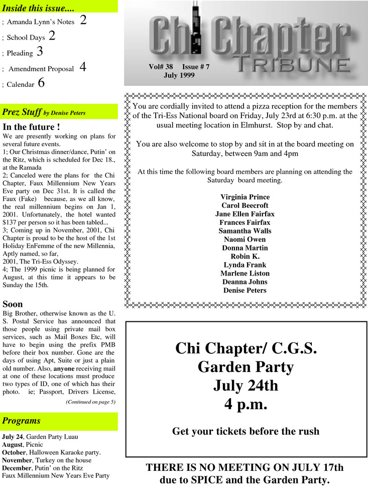 Download the full-sized PDF of Chi Chapter Tribune Vol. 38 Iss. 07 (July, 1999)