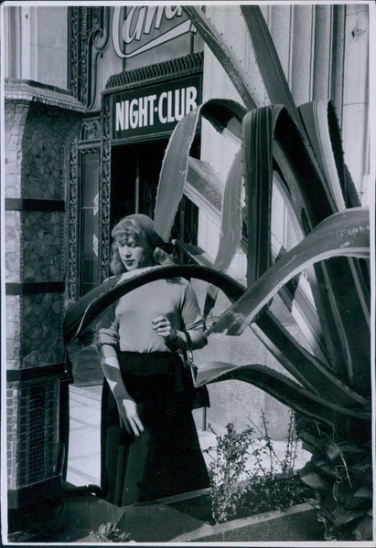 Download the full-sized image of Roberta Cowell Outside Night Club in Nice (1954)