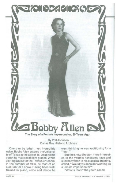 Download the full-sized image of Bobby Allen: The Story of a Female Impersonator, 50 Years Ago