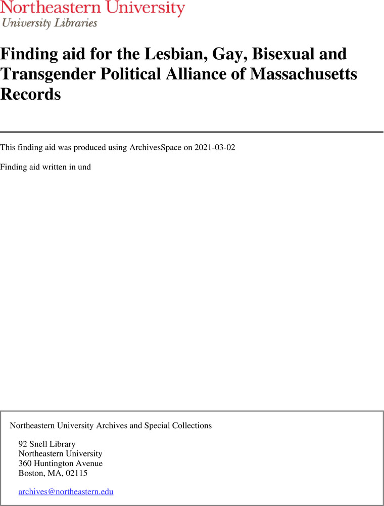 Download the full-sized image of Finding aid for the Lesbian, Gay, Bisexual and Transgender Political Alliance of Massachusetts Records