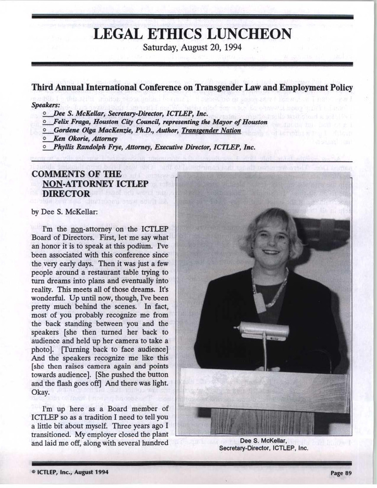 Download the full-sized PDF of Legal Ethics Luncheon (Aug. 20, 1994)
