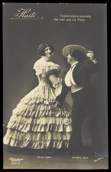 Download the full-sized image of Oscar Sabo dressed as a woman with Josefine Dora dressed as a man, as flamenco dancers. Photographic postcard by L. Willinger, 192-.