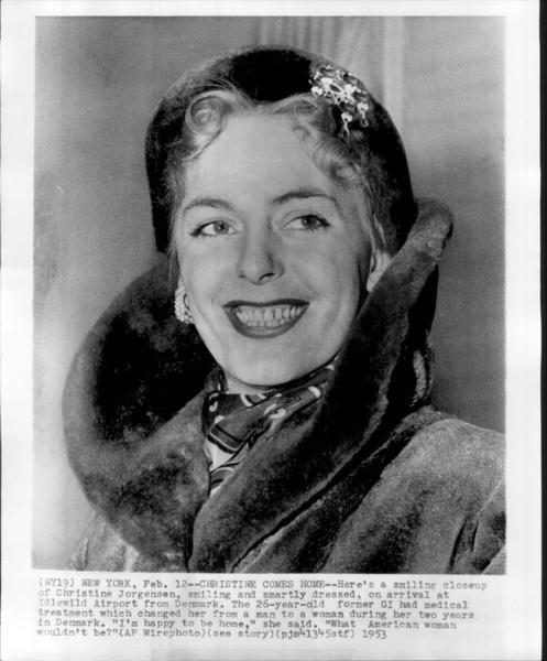 Download the full-sized image of Close-Up of Christine Jorgensen Upon Arrival at New York Idlewild Airport