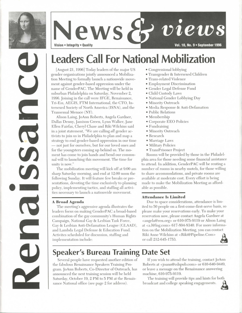 Download the full-sized PDF of Renaissance News & Views, Vol. 10 No. 9 (September 1996)