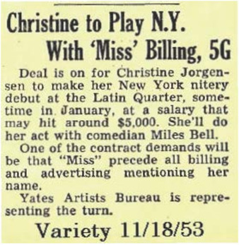 Christine to Play N.Y. With 'Miss' Billing, 5G