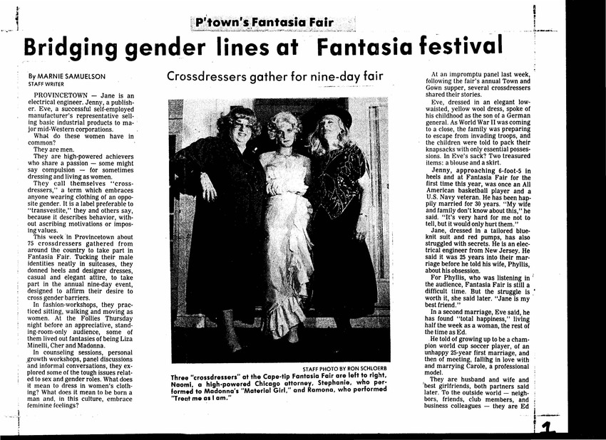 Download the full-sized PDF of Bridging Gender Lines at Fantasia Fair (October 28, 1985)