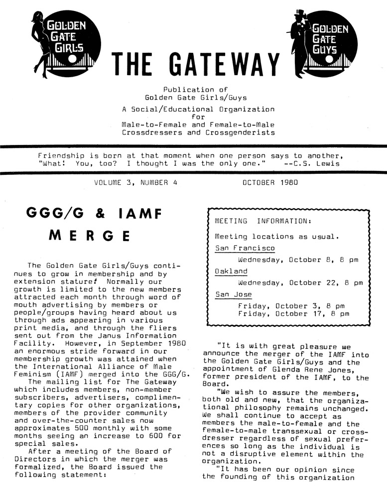 Download the full-sized PDF of The Gateway Vol. 3 No. 4 (October, 1980)