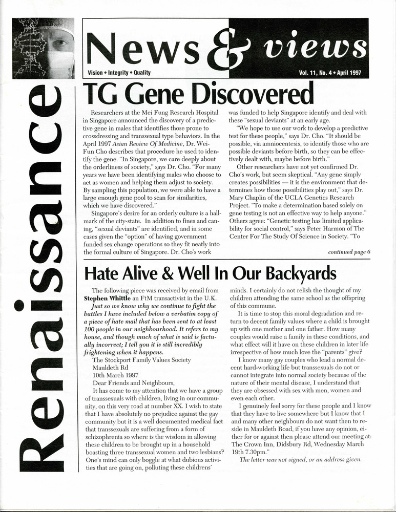 Download the full-sized PDF of Renaissance News & Views, Vol. 11 No. 4 (April 1997)
