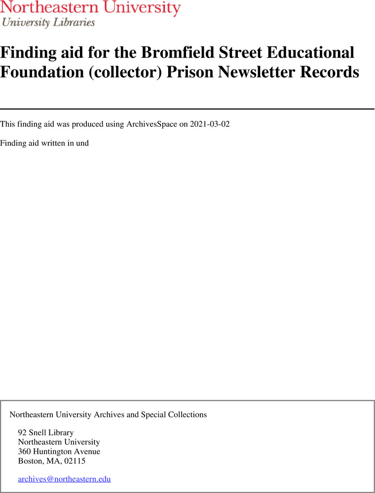 Download the full-sized image of Finding aid for the Bromfield Street Educational Foundation (collector) Prison Newsletter Records