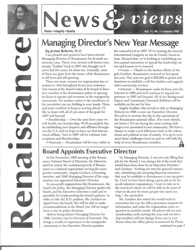 Download the full-sized PDF of Renaissance News & Views Vol. 11, No. 1 (January, 1997)