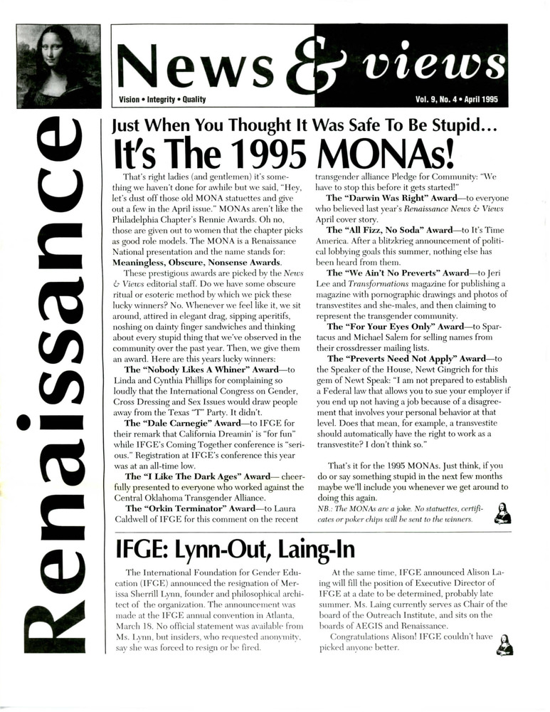 Download the full-sized PDF of Renaissance News & Views, Vol. 9 No. 4 (April 1995)