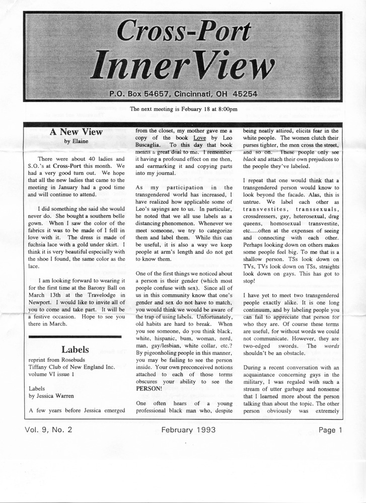Download the full-sized PDF of Cross-Port InnerView, Vol. 9 No. 2 (February, 1993)