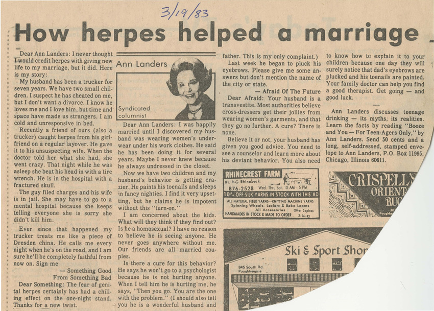 Download the full-sized PDF of How Herpes Helped a Marriage (March 19, 1983)