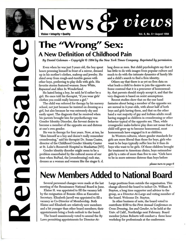 Download the full-sized PDF of Renaissance News & Views, Vol. 8 No. 8 (August 1994)