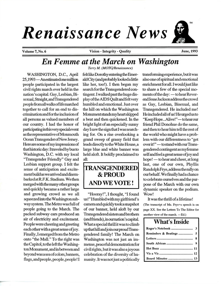 Download the full-sized PDF of Renaissance News, Vol. 7 No. 6 (June 1993)