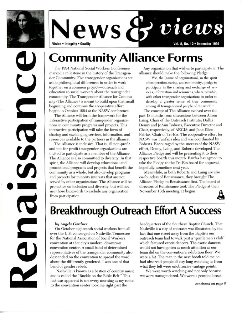 Download the full-sized PDF of Renaissance News & Views, Vol. 8 No. 12 (December 1994)