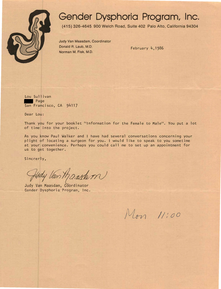 Download the full-sized PDF of Correspondence from Judy Van Maasam to Lou Sullivan (February 4, 1986)