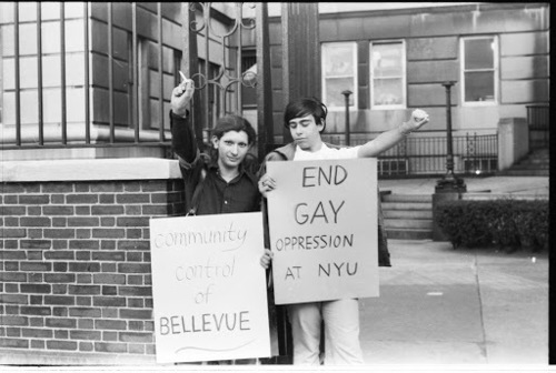 Download the full-sized image of Sylvia Rivera at Gay Liberation Front's Demonstration at Bellevue Hospital, 1970