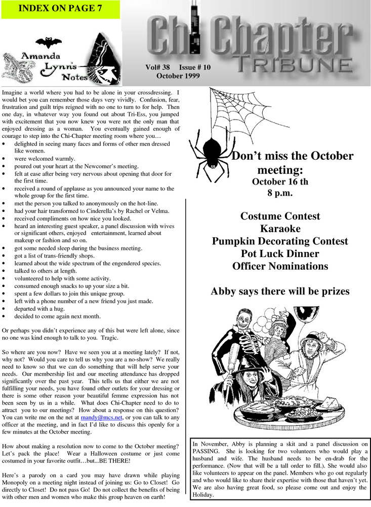 Download the full-sized PDF of Chi Chapter Tribune Vol. 38 Iss. 10 (October, 1999)