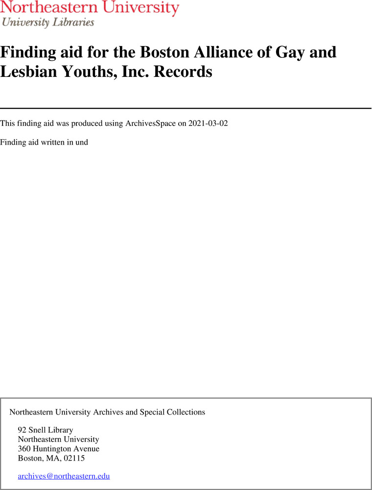 Download the full-sized image of Finding aid for the Boston Alliance of Gay and Lesbian Youths, Inc. Records