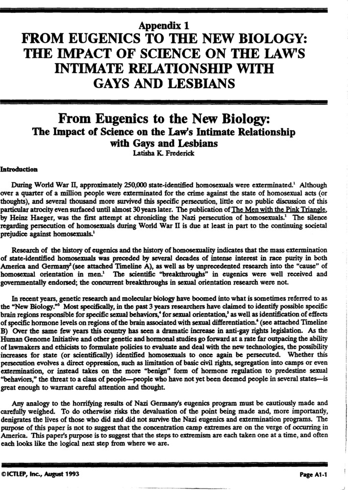 Download the full-sized PDF of Appendix 1: From Eugenics to the New Biology: the Impact of Science on the Law's Intimate Relationship with Gays and Lesbians