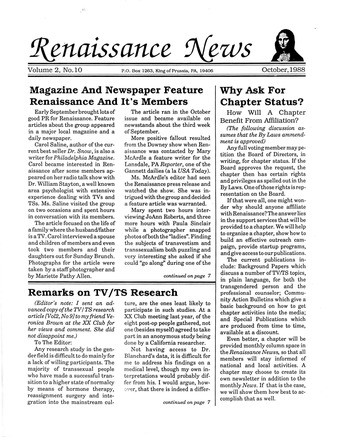 Download the full-sized PDF of Renaissance News, Vol. 2 No. 10 (October 1988)