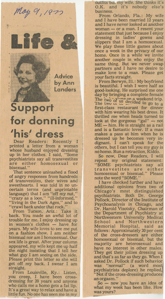 Download the full-sized PDF of Support for Donning 'His' Dress (May 9, 1977)