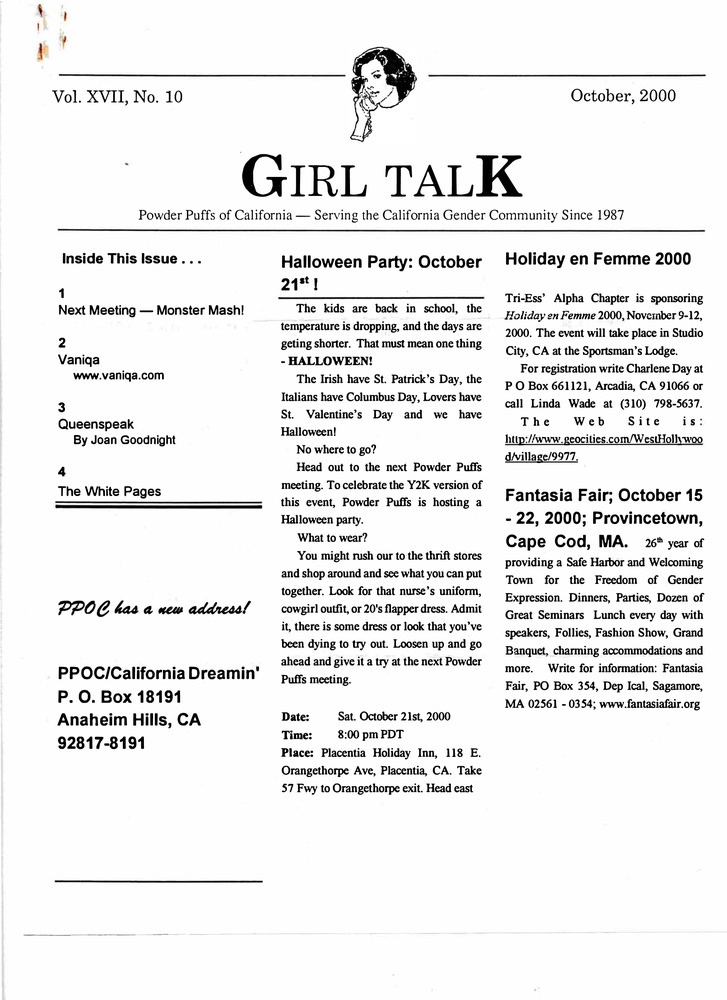 Download the full-sized PDF of Girl Talk, Vol. 17 No. 10 (October, 2000)