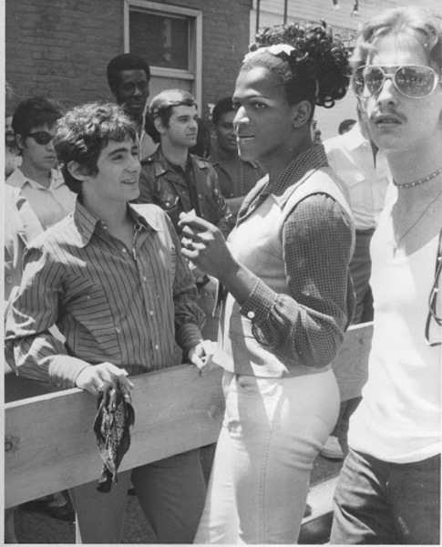 Download the full-sized image of Marsha P. Johnson at the First Christopher Street Liberation Day March, 1970