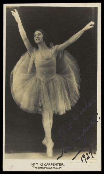 "Download the full-sized image of Tiki Carpenter in drag as ""The dancing Australian"". Photographic postcard, ca. 1927."