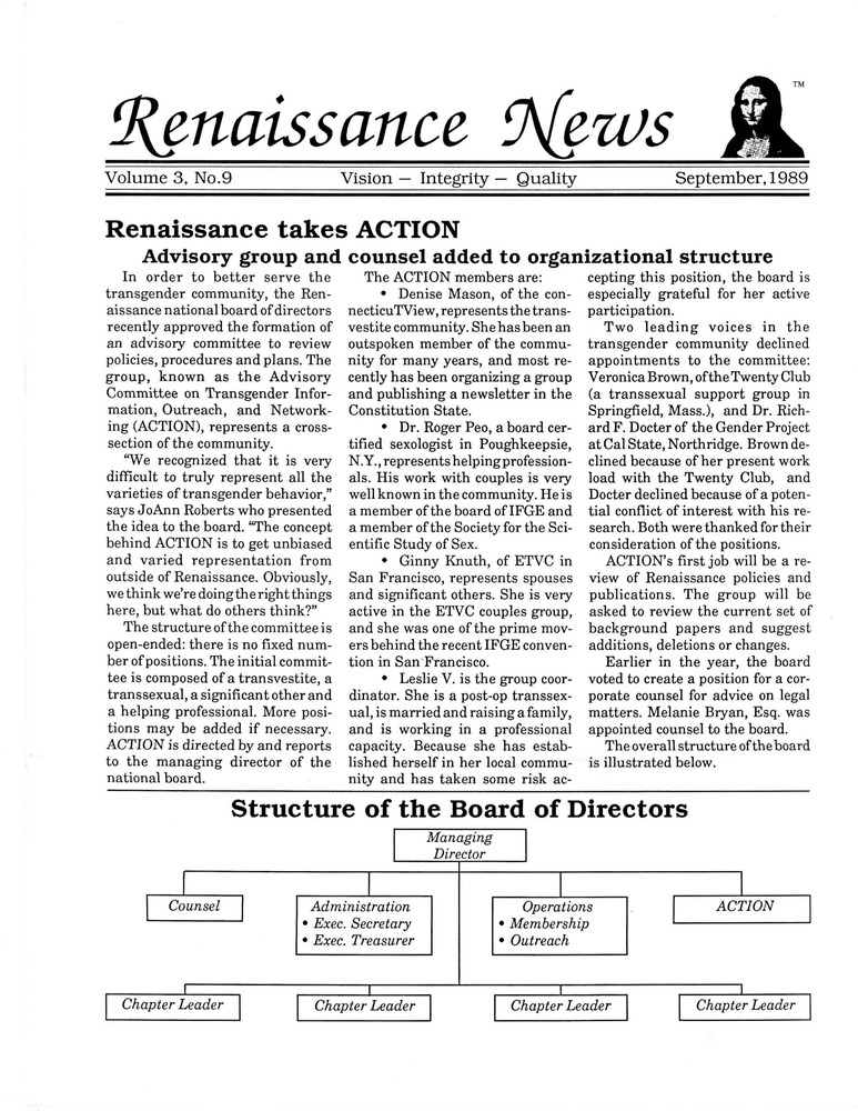 Download the full-sized PDF of Renaissance News, Vol. 3 No. 9 (September 1989)