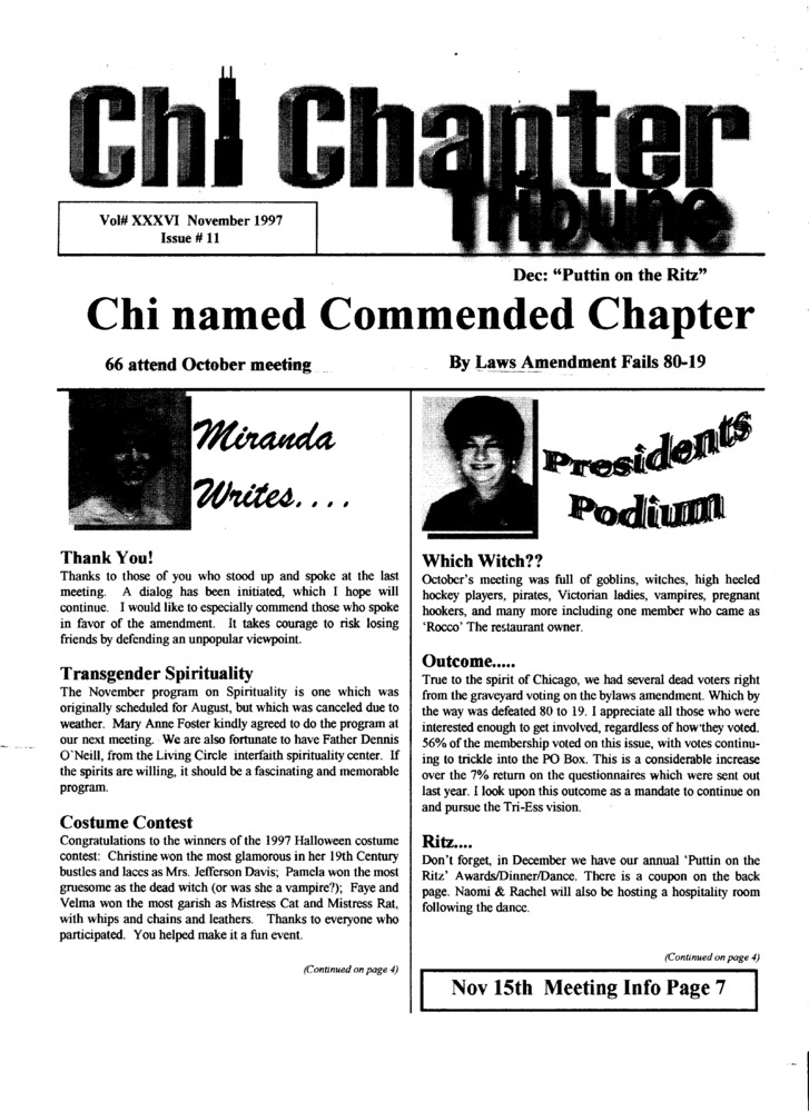 Download the full-sized PDF of Chi Chapter Tribune Vol. 36 Iss. 11 (November, 1997)