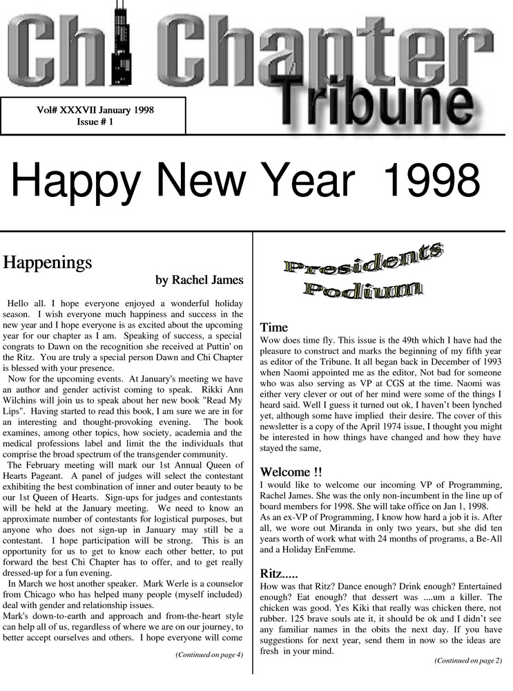 Download the full-sized PDF of Chi Chapter Tribune Vol. 37 Iss. 01 (January, 1998)