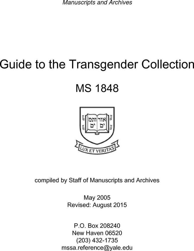 Download the full-sized PDF of Guide to the Transgender Collection