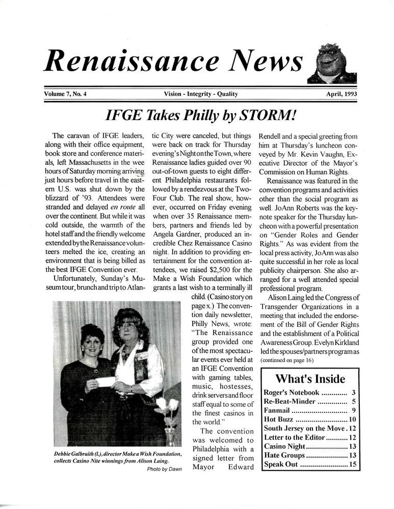 Download the full-sized PDF of Renaissance News, Vol. 7 No. 4 (April 1993)