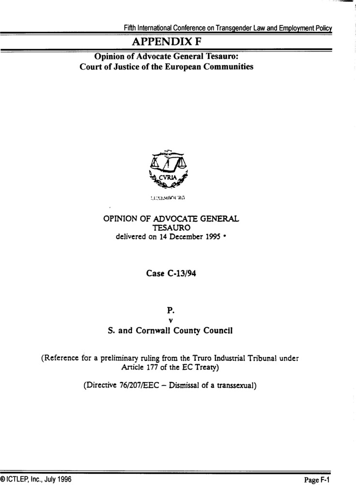 Download the full-sized PDF of Appendix F: Opinion of Advocate General Tesauro: Court of Justice of the European Communities