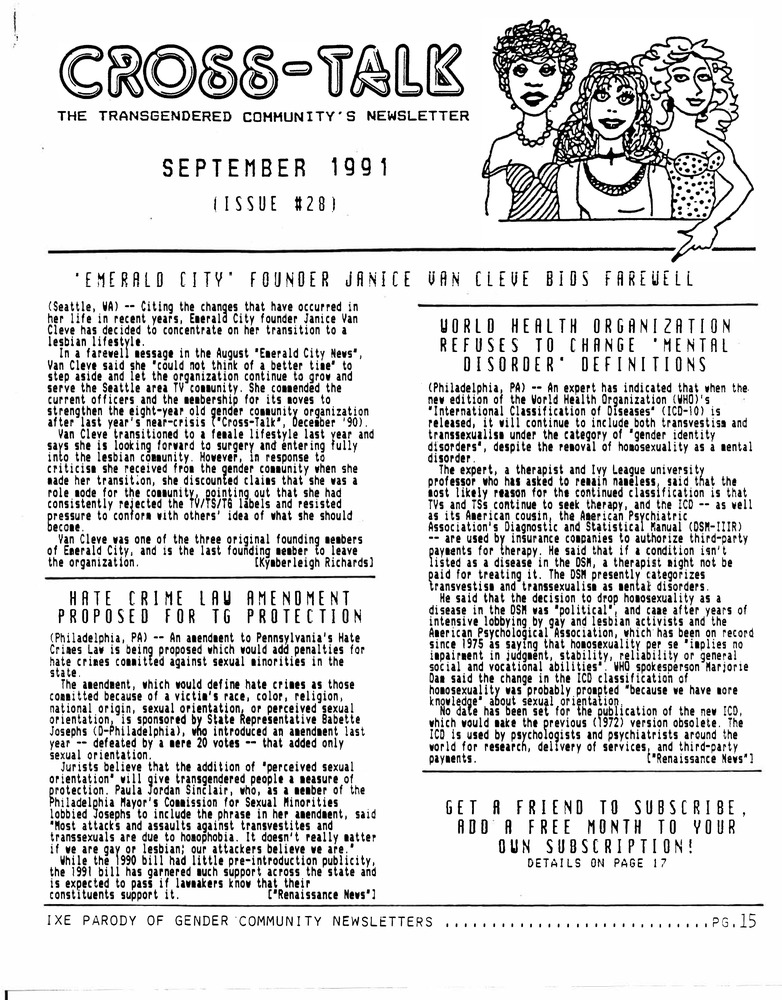Download the full-sized PDF of Cross-Talk: The Gender Community's News & Information Monthly, No. 28 (September, 1991)