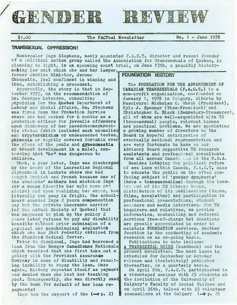 Download the full-sized PDF of Gender Review No. 1 (June 1978)