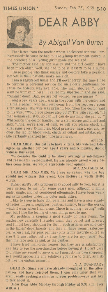 Download the full-sized PDF of Dear Abby Advice Column (February 25, 1968)