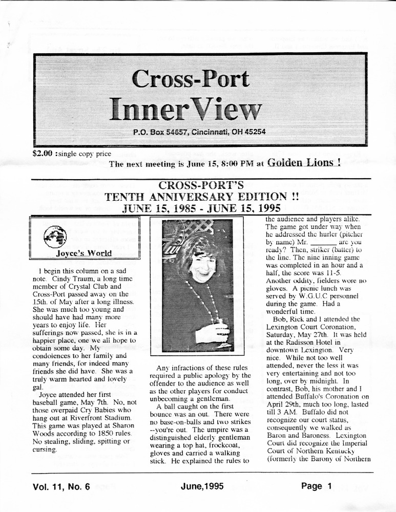 Download the full-sized PDF of Cross-Port InnerView, Vol. 11 No. 6 (June, 1995)