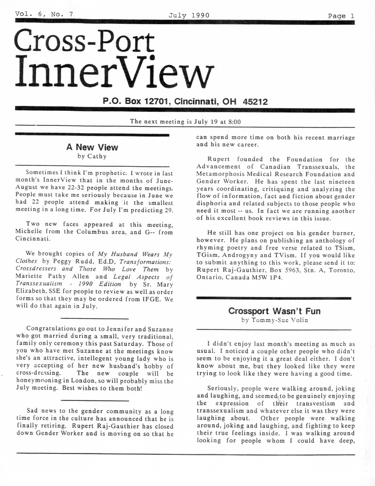 Download the full-sized PDF of Cross-Port InnerView, Vol. 6 No. 7 (July, 1990)