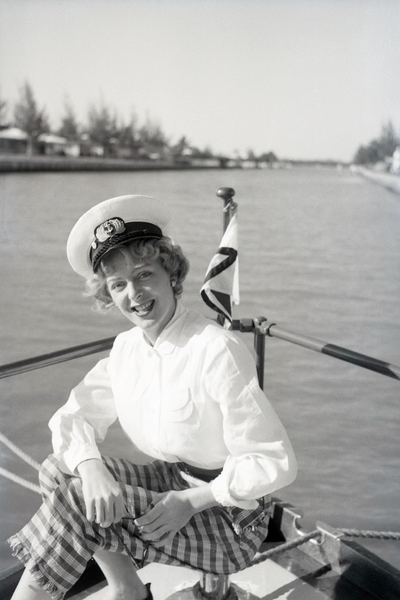 Download the full-sized image of Christine Jorgensen Sitting on a Boat