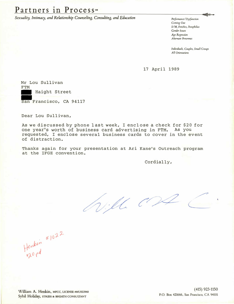 Download the full-sized PDF of Correspondence from William Henkin to Lou Sullivan (April 17, 1989)