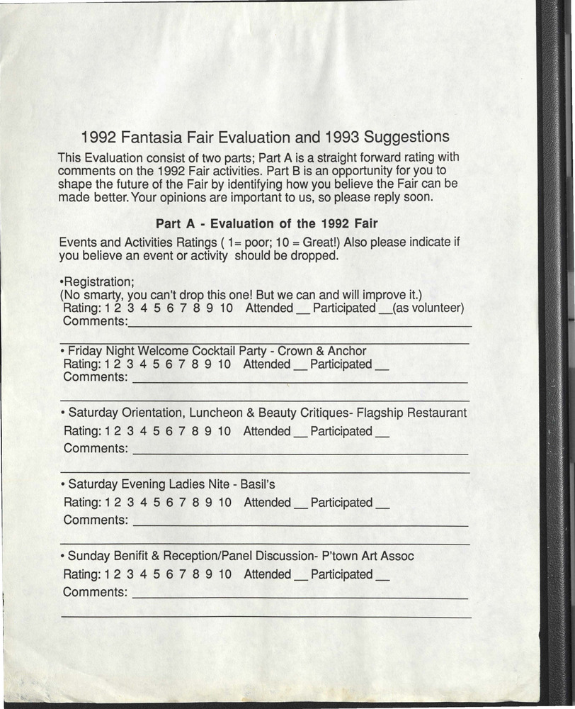 Download the full-sized PDF of 1992 Fantasia Fair Evaluation and 1993 Suggestions Form