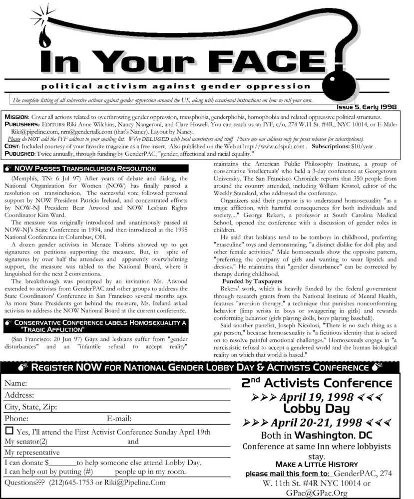 Download the full-sized PDF of In Your Face No. 5 (Spring 1998)